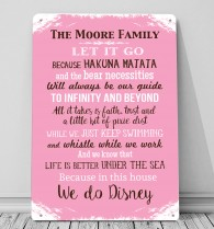 In this House we do, Disney personalised metal sign