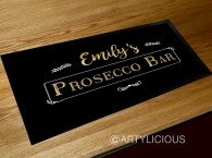 Personalised Prosecco bar gold runner mat