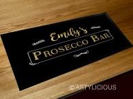 Personalised Prosecco bar gold runner mat