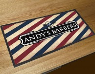 Personalised Barbers shop Stripes bar runner mat