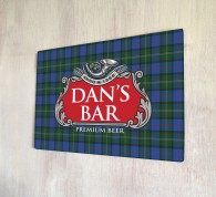Personalised Beer Label Tartan Bar Sign