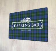 Personalised White Beer Label Tartan Bar Sign