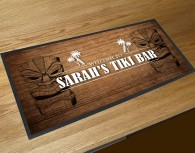 Personalised wood Tiki bar runner mat