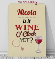 Personalised Wine O'Clock metal sign