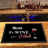 Personalised Wine O'clock bar runner bar mat