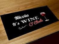 Personalised Wine O'clock bar runner bar mat
