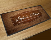 Personalised Welcome wood effect bar runner mat