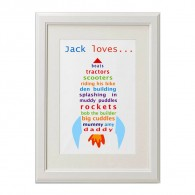 Personalised words Rocket canvas art print