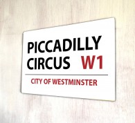 Piccadilly Circus London metal Street sign