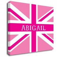 Personalised pink Union Jack canvas art