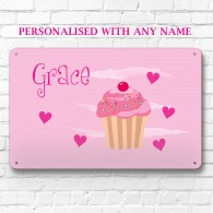 Personalised pink cupcake metal door wall sign