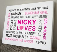 Personalised word cloud typography canvas art print