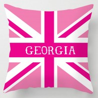Personalised Pink union jack cushion