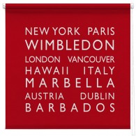 personalised bus blind printed roller blind RED