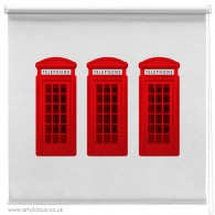 3 Red phone boxes printed blind
