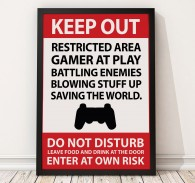 Gaming Sign / Poster Print, Restricted Area