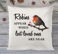 Robins appear, christmas cushion