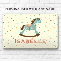 Personalised Rocking horse metal door wall sign