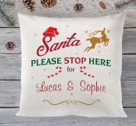 Santa stop here personalised cushion