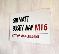Sir Matt Busby Way Manchester Street Sign