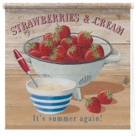 Strawberries and cream printed blind martin wiscombe