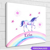 Personalised Unicorn, childrens rainbow canvas art