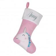 Personalised Christmas Deluxe Stocking, Pink Unicorn