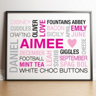 Personalised word cloud typography POSTER  canvas art print