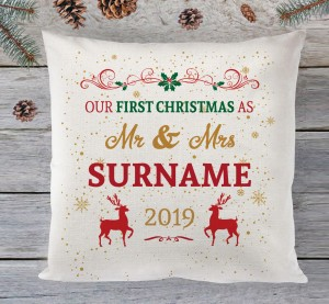Our First Christmas Mr & Mrs cushion