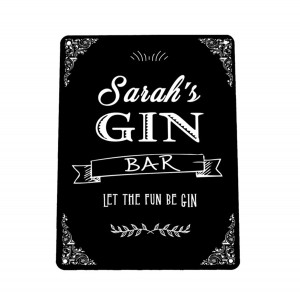 Personalised black Gin bar sign