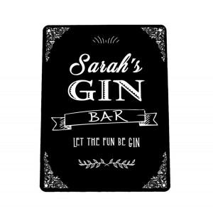 Personalised black Gin bar sign