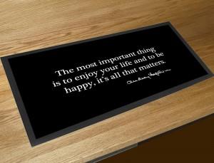 Be Happy Audrey Hepburn inspirational quote bar runner