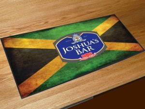 Personalised Jamaican flag blue beer label bar runner