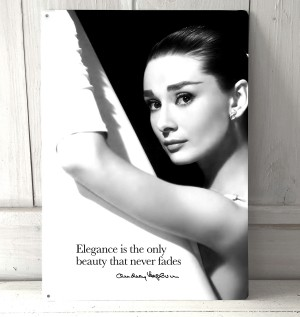 Audrey Hepburn Elegance quote metal sign