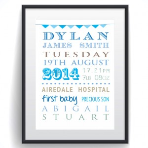 Personalised Baby word cloud print poster