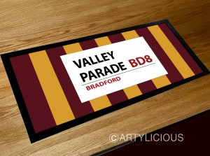 Valley Parade football sign bar runner mat (stripes)