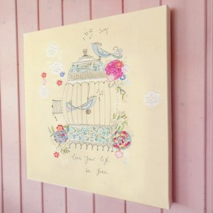 Be Free Birdcage illustration canvas print