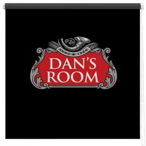Red Beer label personalised printed blind