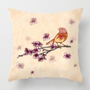 Bird on a branch illustration cushion