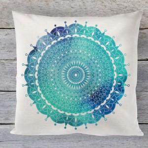 Mandala boho Aqua linen cushion