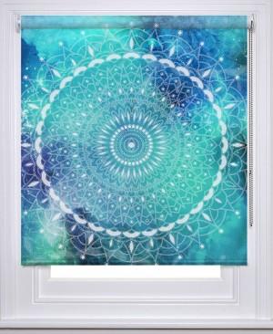 Mandala boho aqua printed blind