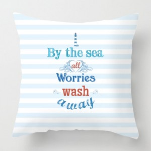By the sea quote cushion