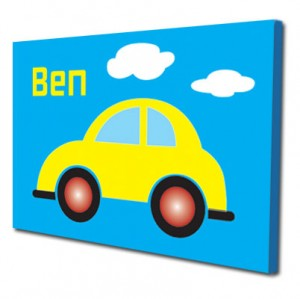 Personalised blue car childrens canvas art
