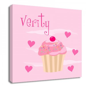 Personalised Cupcake childrens canvas art