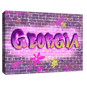 Personalised girls graffiti childrens canvas art