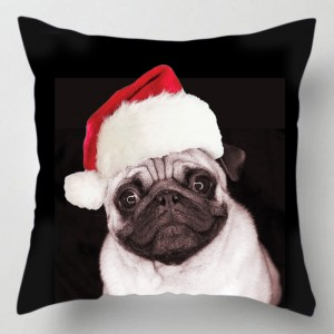 Christmas Pug dog cushion