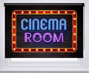 Cinema Room Neon sign printed blind