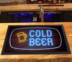 Cold Beer, neon lights brick bar runner mat