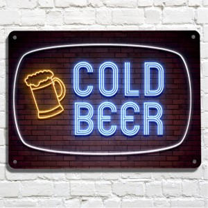 Cold Beer neon brick wall metal sign
