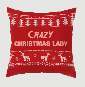 Crazy Christmas Lady cushion
